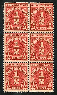 Dr Jim Stamps Us Scott J79 1/2C Postage Due Block Unused Og Nh Spot On Back