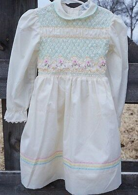 VTG Polly Flinders  Smocked Embroidered ENTIRE top Ribbons Lace Pastels Sz 6 USA