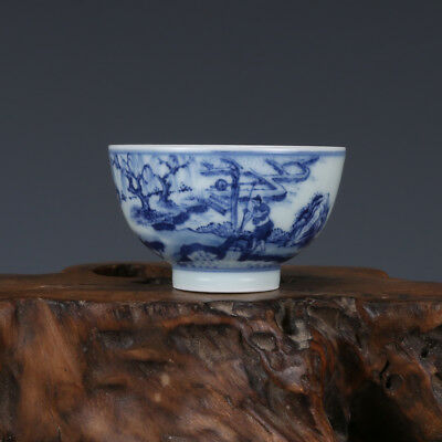 China old antique Porcelain Qing Kangxi Blue & white Charaters irrigation Cup