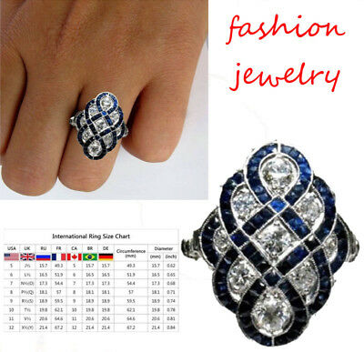 Art Deco Women Wedding Engagement Ring White Sapphire Silver Jewelry Size 5-10 V