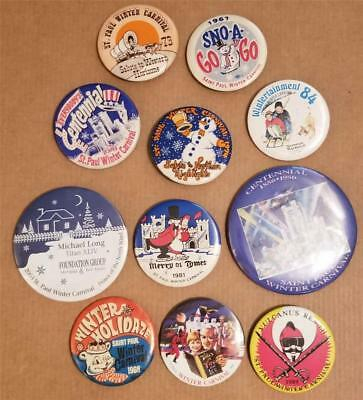 ST PAUL Winter Carnival Button Lot of 11 different 1967-2003