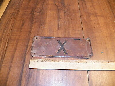 """Vintage License Plate With Only an """"X"""" - Motorcycle Size"""