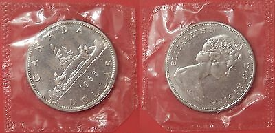 Proof Like 1965 Canada Small Beads & Blunt 5 Silver 1 Dollar Sealed in Cello