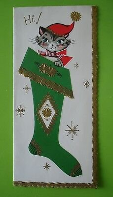 Vtg. Christmas Card-Cute Cat in Christmas Stocking-Embossed W.Gold Accents