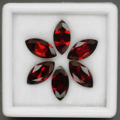 Marquise 12x6 mm.Outstanding! Natural Red Mozambique Garnet Africa 6Pcs/10.48Ct.