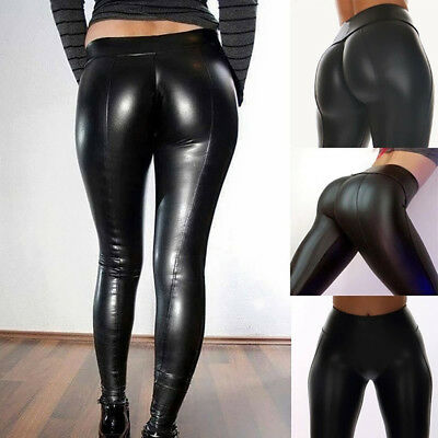 Women's Leather Pants Workout Leggings Fitness Sport Club Athletic Pants Tousers