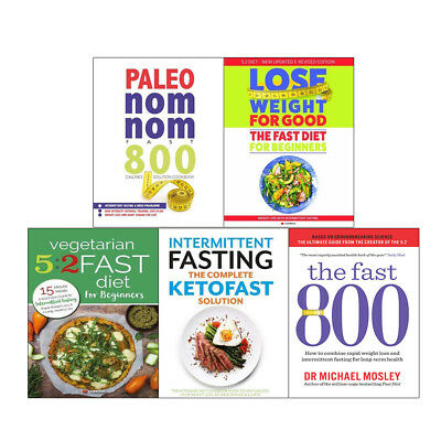 Fast 800 and Quick & Easy Fasting Nom Nom 5 Books Collection Set weight loss NEW