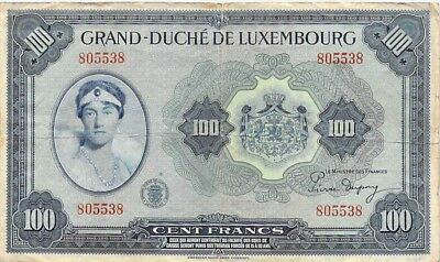 Luxembourg Large 100 Francs Note 1944 P-47 Scarce