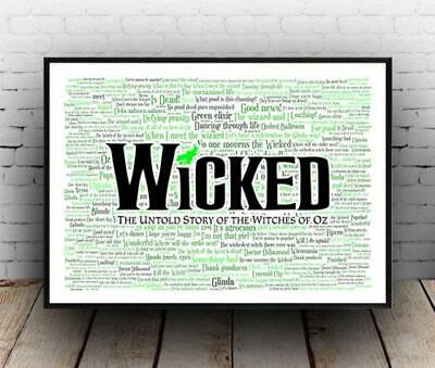 Wicked Broadway Musical Poster, Quotes, Lyrics, Wall Art, Poster - No Frame