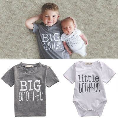 3f69a6333 LITTLE BROTHER BABY Boy Romper Bodysuit Big Brother Cotton T-shirt ...