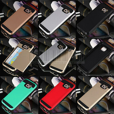 Slim Hybrid Rugged Card Case Shockproof Hard Rubber Cover For Samsung Galaxy S6