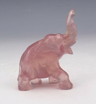 Antique Chinese Oriental Carved Rose Quartz Elephant Figure - Nice!