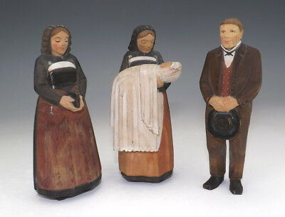 Vintage Anri Italian Hand Carved Wood - Christening Group - Unusual!