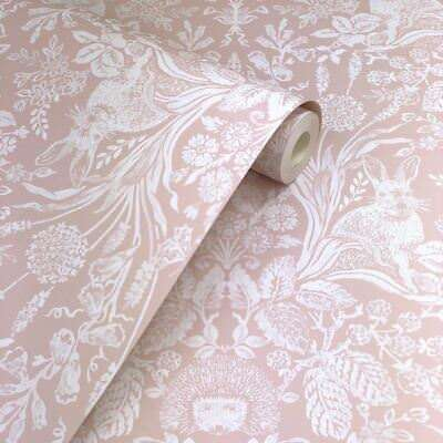 Harlen Woodland Damask Wallpaper Rolls Dusky Pink - Holden 90161