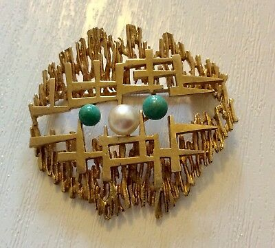 Unusual Stylish Abstract Vintage Heavy 9CT Gold Turquoise & Pearl Brooch