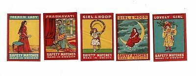 5 Old Sweden c1900s matchbox labels depicting Prabhavati etc.