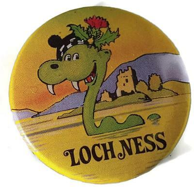 Vintage 1970's Loch Ness Button Pinback Pin - Colorful Monster - Missing Pin