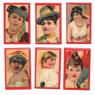 6 Old Sweden Uddevalla c1900s matchbox labels depicting People.
