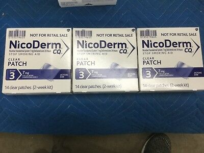 (3) Nicoderm CQ Nicotine Patch, Clear, Step 3 Quit Smoking, 7mg , 14 42 patches
