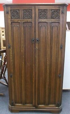 Vintage CHARM / TUDOR Solid Oak & Oak Veneer Carved Gentlemans Wardrobe  - K24