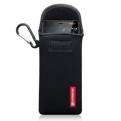 Nokia 5.1 Shocksock Neoprene Soft Pouch Case with Carabiner in Black