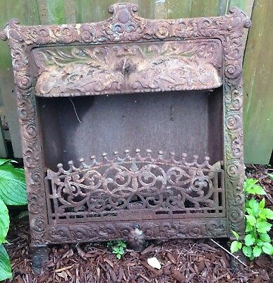 19thC Antique VICTORIAN Relief CAST IRON Old FIREPLACE Insert And Surround