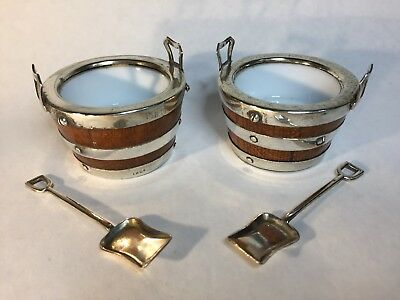 Antique Salt Cellars Pair Silver Plate And Oak Barrel Shape With Spade Spoons