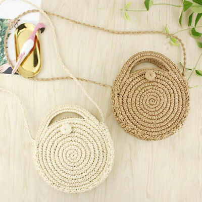 Straw Retro Bag Rattan Woven Round Handbag Knitted Messenger Crossbody Beach Z