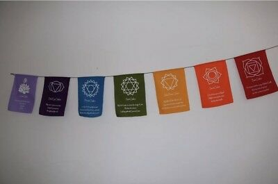 Rainbow Multi Colour Chakra Symbol  Mantra Affirmation Prayer Flags  Bunting -