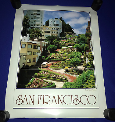 vintage ORIG.1982 San Francisco,CA Lombard Street  TRAVEL POSTER 18x24in UNUSED