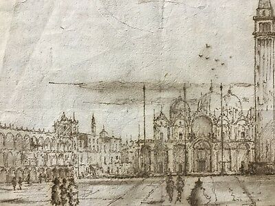 Fine 18Th Century Italian Old Master Ink Wash Drawing - St. Marks Square Venice