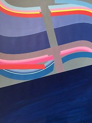 ARLETTE MARTIN (b.1924) FINE LARGE FRENCH GEOMETRIC ABSTRACT PAINTING - SIGNED