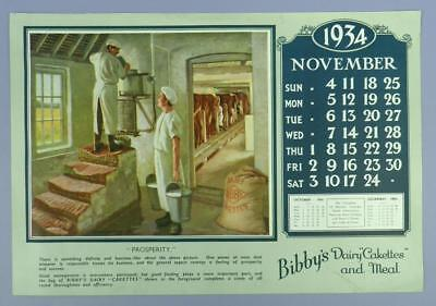 Old Advertising Calender Page - Novembe 1934, Dairy Cakettes - Dairy Parlour