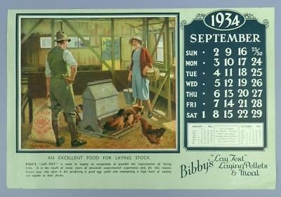 Old Advertising Calender Page -September 1934, Lay Zest Laying Pellets - Poultry
