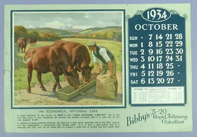 Old Advertising Calender Page - October 1934, Bibby's 5-20 R.F.Cakettes - Cattle
