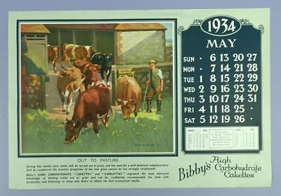 Old Advertising Calender Page - April 1934, Bibby's H.C.Cakettes - Cattle