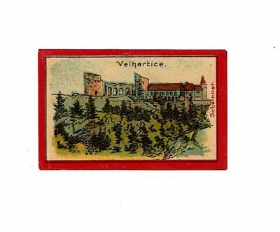 1 Old Austria Scheinost early c1900s Glazed Matchbox label Velhartice 55x35mm.