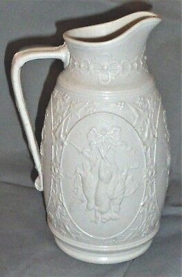 Wonderful Antique Relief Moulded Game Parian Jug by James Edwards & Son 1870