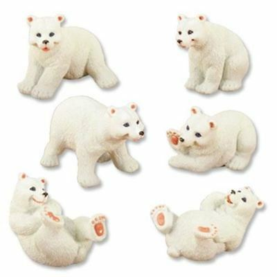 Set of Six White Polar Bears Cub Small Figurine 3.5 Inch Tall Animal Collection