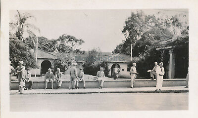 WWII 1940s Wailuku Maui Hawaii photo #2 servicemen at USO waiting for bus