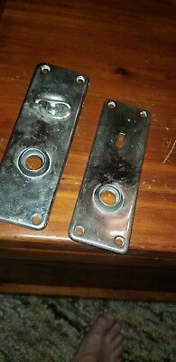 Vintage Art Deco Pair Of Yale Door Knob Back Plates With Thumb Screw