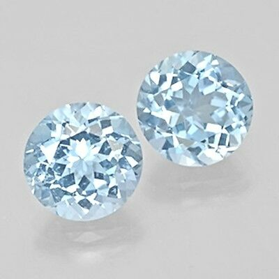 BEAUTIFUL PAIR OF 7.5mm ROUND NATURAL EARTH MINED BRAZILIAN SKY BLUE TOPAZ