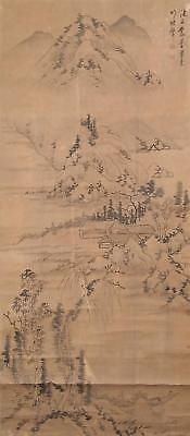 #1119 Japanese Hanging Scroll: Riverside Landscape