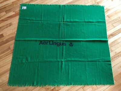 Aer Lingus Airline Vintage Wool Blanket Throw Golden Shamrock Rug Irish Airlines