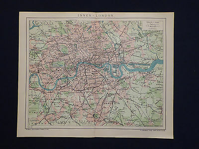 Landkarte Stadtplan von Inner - London in Great Britain, 1:84000, Brockhaus 1902