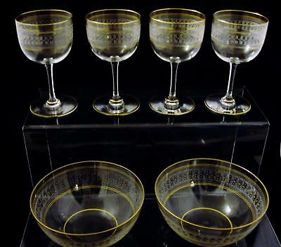 Antique Baccarat Etched Gilt Stems and Matching Bowls