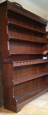 A Pair of Solid Oak Bookcases / Dressers Lunette Carved Cornice Maker Stamp