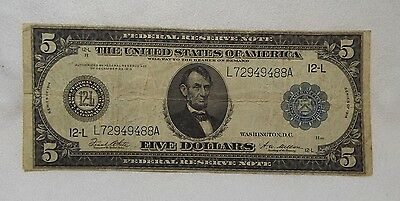 Series 1914 Large Size Blue Seal $5 Federal Reserve Note 12-L SF FINE Fr#891-A