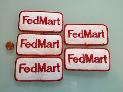 1970's Vintage FEDMART discount department store PATCH LOT 5 unused RARE sew on