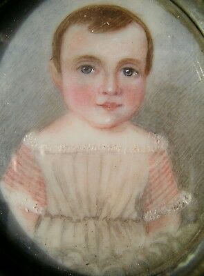 Antique Portrait Miniature Memorial Mourning Painting of JM. Hay Boy born 1841